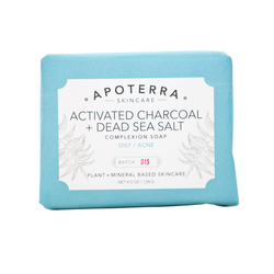 APOTERRA Activated Charcoal + Dead Sea Salt Complexion Soap, 128g/4.5 oz