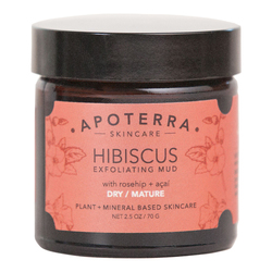 APOTERRA Hibiscus Exfoliating Mud with Rosehip + Acai, 70g/2.5 oz