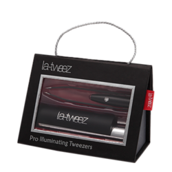 Black Pro Illuminating Tweezers with Lipstick Case and Triangle Box