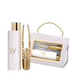 Pro Illuminating Tweezers and Mirrored Carry Case 24k Gold Plated