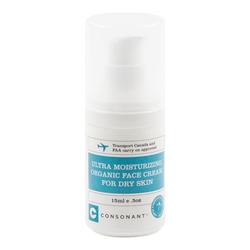 Consonant Ultra Moisturizing Organic Face Cream for Dry Skin - Travel Size, 15ml/0.5 fl oz