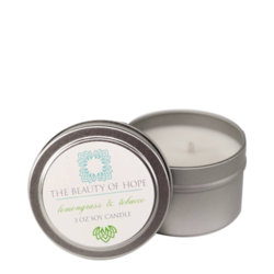 Beauty Of Hope Lemongrass & Tobacco Soy Candle, 85g/3 oz