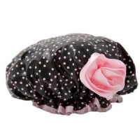 Bella Il Fiore Bath Diva Shower Cap - Black With Pink Dots/Pink Flower
