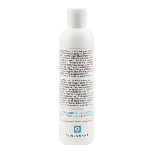 Consonant Organic Body Lotion - Pure Unscented, 250ml/8.5 fl oz