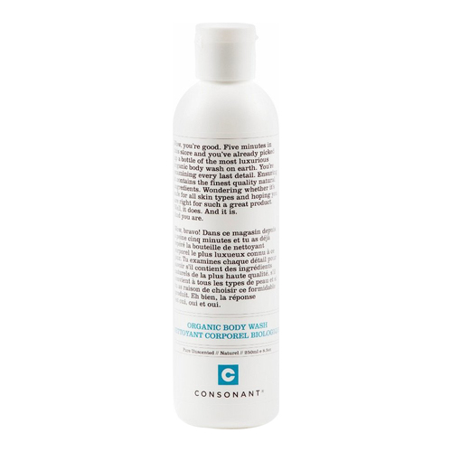 Consonant Body Wash Pure Unscented, 250ml/8.5 fl oz