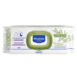 Mustela Cleansing Wipes with Olive Oil, 50 wipes
