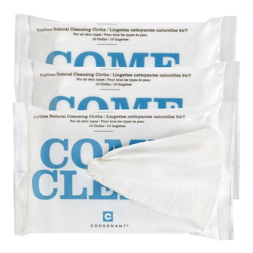 Consonant Come Clean Natural Cleansing Cloths - Pack of 3, 10 wipes