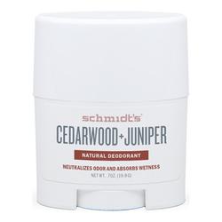 Schmidts Natural Deodorant Stick (Travel Size) - Cedarwood + Juniper, 19.8g/0.7 oz