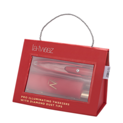 Red Pro Illuminating Tweezers and Mirrored Carry Case With Diamond Dust Tips