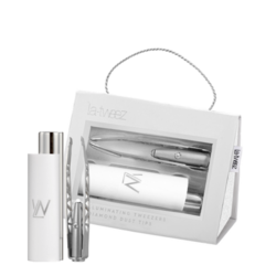 White Pro Illuminating Tweezers and Mirrored Carry Case With Diamond Dust Tips